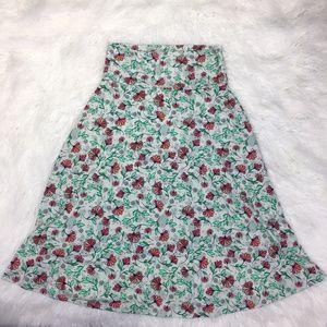 LulaRoe Size Medium Floral Green A Line Skirt